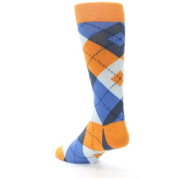 Image of Orange Blues Argyle Men's Dress Socks (side-2-back-15)
