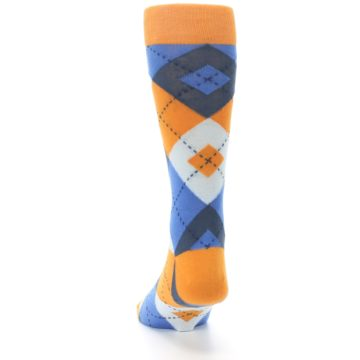 Image of Orange Blues Argyle Men's Dress Socks (back-17)