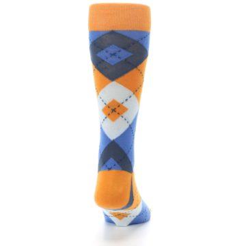 Image of Orange Blues Argyle Men's Dress Socks (back-19)