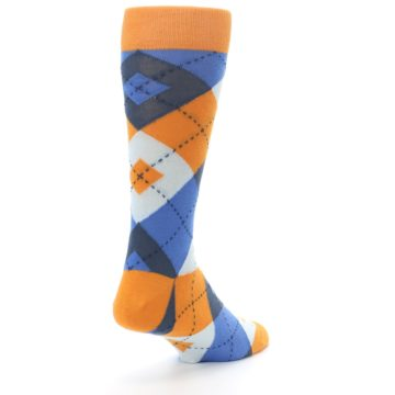 Image of Orange Blues Argyle Men's Dress Socks (side-1-back-21)