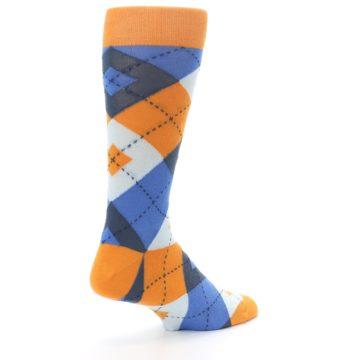 Image of Orange Blues Argyle Men's Dress Socks (side-1-back-22)