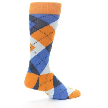 Image of Orange Blues Argyle Men's Dress Socks (side-1-23)