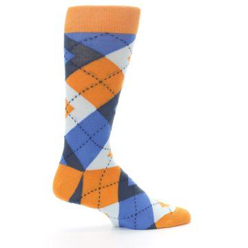 Image of Orange Blues Argyle Men's Dress Socks (side-1-24)