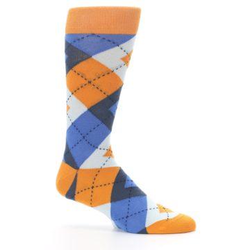 Image of Orange Blues Argyle Men's Dress Socks (side-1-25)
