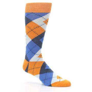Image of Orange Blues Argyle Men's Dress Socks (side-1-26)