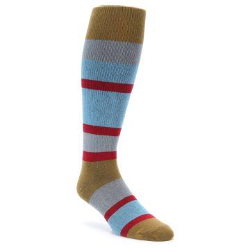 zKano Brown Blue Over the Calf Men's Socks