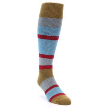 Image of Blue Brown Stripe Men's Over-the-Calf Dress Socks (side-1-front-02)