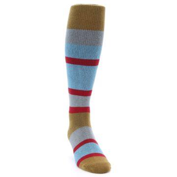Image of Blue Brown Stripe Men's Over-the-Calf Dress Socks (side-1-front-03)