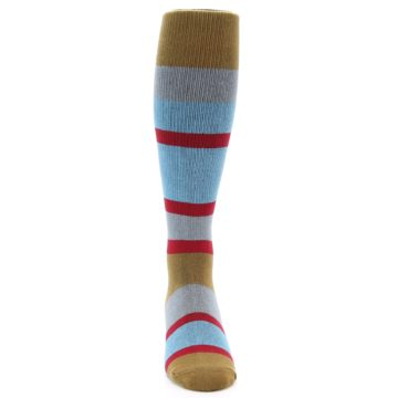 Image of Blue Brown Stripe Men's Over-the-Calf Dress Socks (front-04)