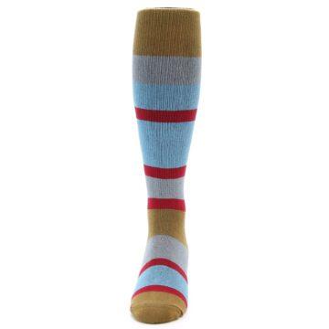 Image of Blue Brown Stripe Men's Over-the-Calf Dress Socks (front-05)