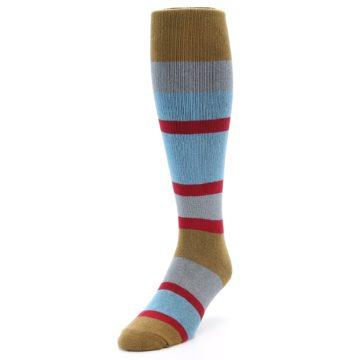 Image of Blue Brown Stripe Men's Over-the-Calf Dress Socks (side-2-front-07)