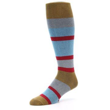 Image of Blue Brown Stripe Men's Over-the-Calf Dress Socks (side-2-09)