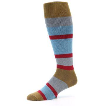 Image of Blue Brown Stripe Men's Over-the-Calf Dress Socks (side-2-10)
