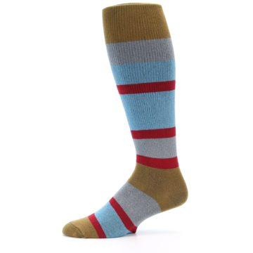 Image of Blue Brown Stripe Men's Over-the-Calf Dress Socks (side-2-11)