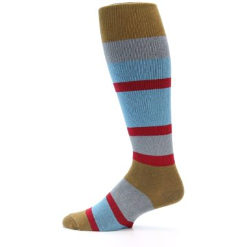 Image of Blue Brown Stripe Men's Over-the-Calf Dress Socks (side-2-12)