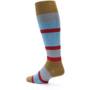 Image of Blue Brown Stripe Men's Over-the-Calf Dress Socks (side-2-back-14)