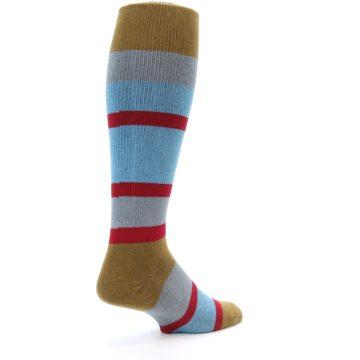 Image of Blue Brown Stripe Men's Over-the-Calf Dress Socks (side-1-back-22)
