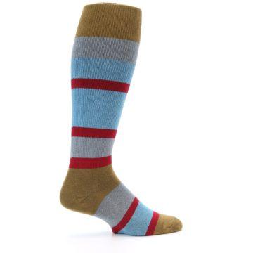 Image of Blue Brown Stripe Men's Over-the-Calf Dress Socks (side-1-24)