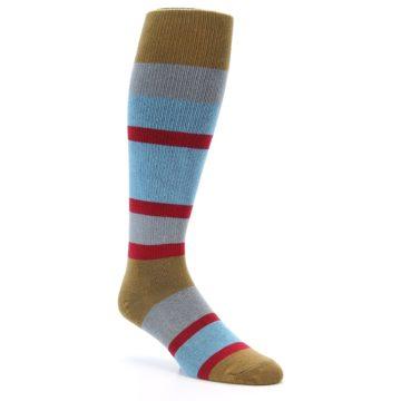 Image of Blue Brown Stripe Men's Over-the-Calf Dress Socks (side-1-27)