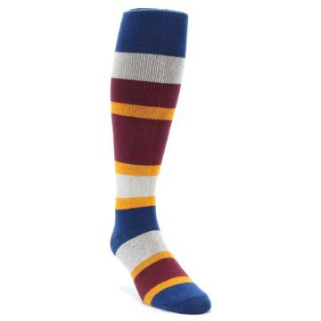 Image of Maroon Blue Stripe Men's Over-the-Calf Dress Socks (side-1-front-02)