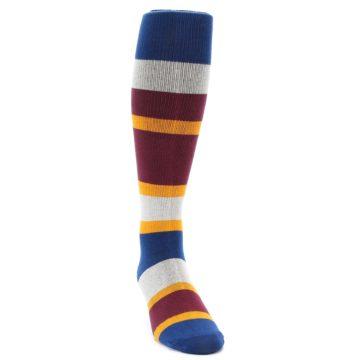 Image of Maroon Blue Stripe Men's Over-the-Calf Dress Socks (side-1-front-03)