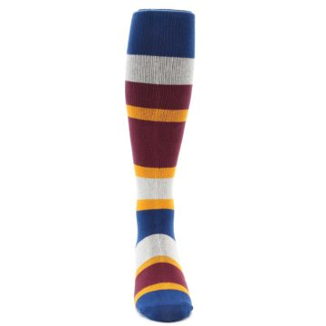 Image of Maroon Blue Stripe Men's Over-the-Calf Dress Socks (front-04)