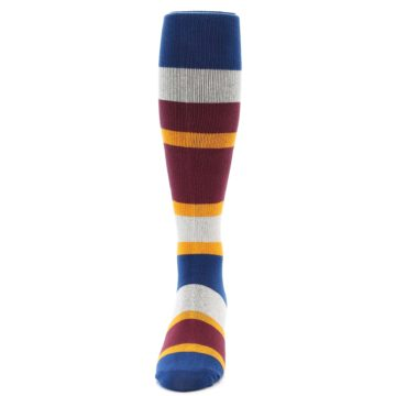Image of Maroon Blue Stripe Men's Over-the-Calf Dress Socks (front-05)