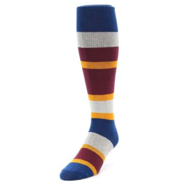 Image of Maroon Blue Stripe Men's Over-the-Calf Dress Socks (side-2-front-07)