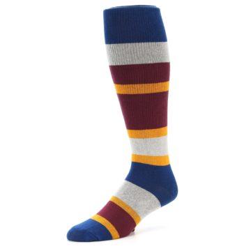 Image of Maroon Blue Stripe Men's Over-the-Calf Dress Socks (side-2-09)