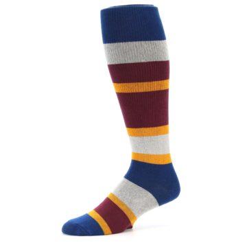 Image of Maroon Blue Stripe Men's Over-the-Calf Dress Socks (side-2-10)