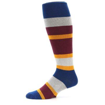 Image of Maroon Blue Stripe Men's Over-the-Calf Dress Socks (side-2-11)
