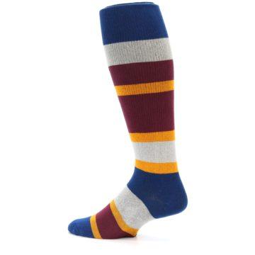 Image of Maroon Blue Stripe Men's Over-the-Calf Dress Socks (side-2-13)
