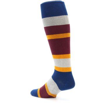 Image of Maroon Blue Stripe Men's Over-the-Calf Dress Socks (side-2-back-14)