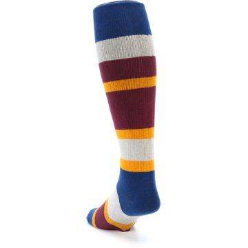 Image of Maroon Blue Stripe Men's Over-the-Calf Dress Socks (side-2-back-16)