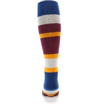 Image of Maroon Blue Stripe Men's Over-the-Calf Dress Socks (back-18)