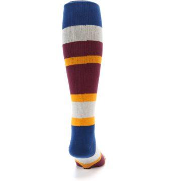 Image of Maroon Blue Stripe Men's Over-the-Calf Dress Socks (back-19)