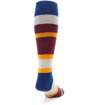 Image of Maroon Blue Stripe Men's Over-the-Calf Dress Socks (side-1-back-20)