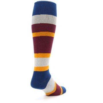 Image of Maroon Blue Stripe Men's Over-the-Calf Dress Socks (side-1-back-21)