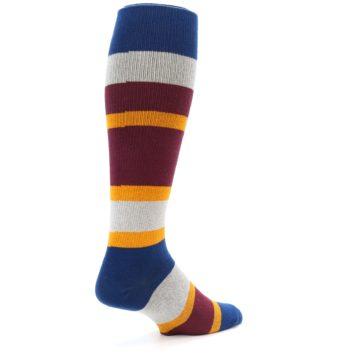 Image of Maroon Blue Stripe Men's Over-the-Calf Dress Socks (side-1-back-22)