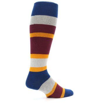 Image of Maroon Blue Stripe Men's Over-the-Calf Dress Socks (side-1-23)
