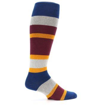 Image of Maroon Blue Stripe Men's Over-the-Calf Dress Socks (side-1-24)