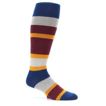 Image of Maroon Blue Stripe Men's Over-the-Calf Dress Socks (side-1-25)