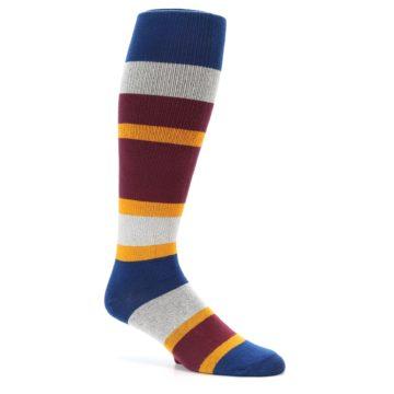 Image of Maroon Blue Stripe Men's Over-the-Calf Dress Socks (side-1-26)