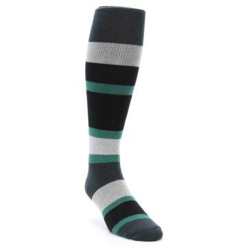 Image of Black Green Stripe Men's Over-the-Calf Dress Socks (side-1-front-02)