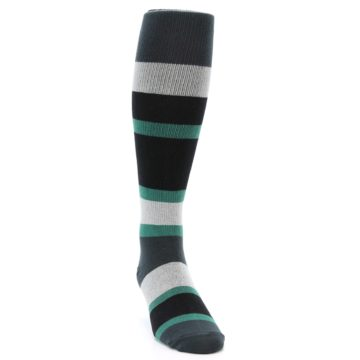 Image of Black Green Stripe Men's Over-the-Calf Dress Socks (side-1-front-03)
