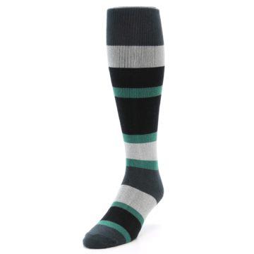 Image of Black Green Stripe Men's Over-the-Calf Dress Socks (side-2-front-07)