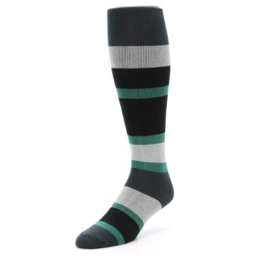 Image of Black Green Stripe Men's Over-the-Calf Dress Socks (side-2-front-08)