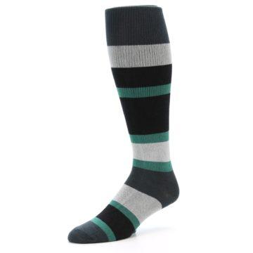 Image of Black Green Stripe Men's Over-the-Calf Dress Socks (side-2-09)