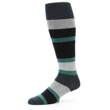 Image of Black Green Stripe Men's Over-the-Calf Dress Socks (side-2-10)
