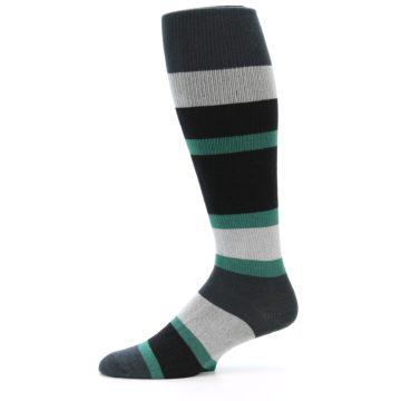 Image of Black Green Stripe Men's Over-the-Calf Dress Socks (side-2-11)
